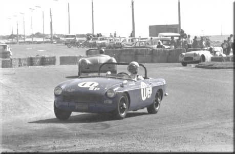 Photo of MGB convertible in the Tijuana road races