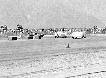 Photo: Porsche leads two MGAs at Palm Springs, 1956