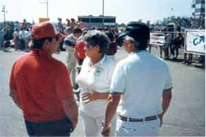 Thumbnail: Joe Hobbs, Marge and Phil Binks near the hot corner. Al Jr in the distance