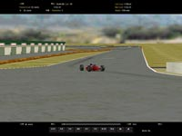Thumbnail:  Uptrack view as a red car approaches the Turn One apex   CLICK to see a larger version