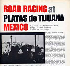 Thumbnail: portion of Tijuana racing article by Gus Vignolle  heading page, Sports Car Graphic issue of June, 1967