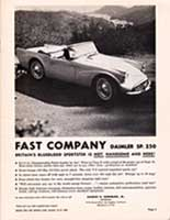 "Scan: ""Daimler SP250"" Advertisement Riverside International Raceway  1960"